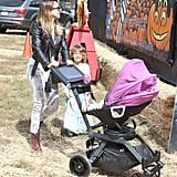 Jessica Alba pushed Haven in a stroller while Honor followed close by for a trip to the pumpkin patch.