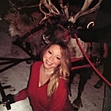 Mariah Carey posed with real reindeer.