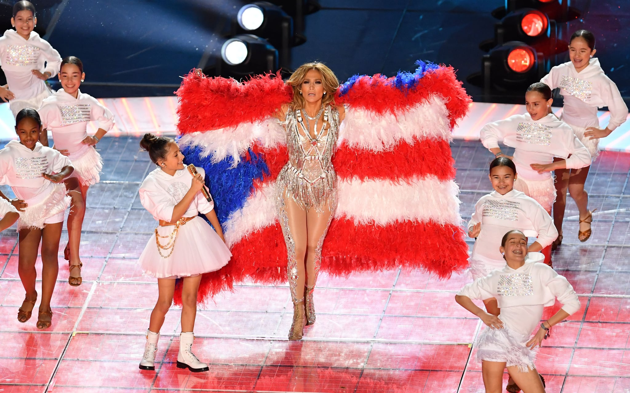 US singer Jennifer Lopez and her daughter Emme Muniz (L) perform during the halftime show of Super Bowl LIV between the Kansas City Chiefs and the San Francisco 49ers at Hard Rock Stadium in Miami Gardens, Florida, on February 2, 2020. (Photo by Angela Weiss / AFP) (Photo by ANGELA WEISS/AFP via Getty Images)
