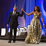 Michelle Obama Gold Dress at Phoenix Awards Dinner 2016