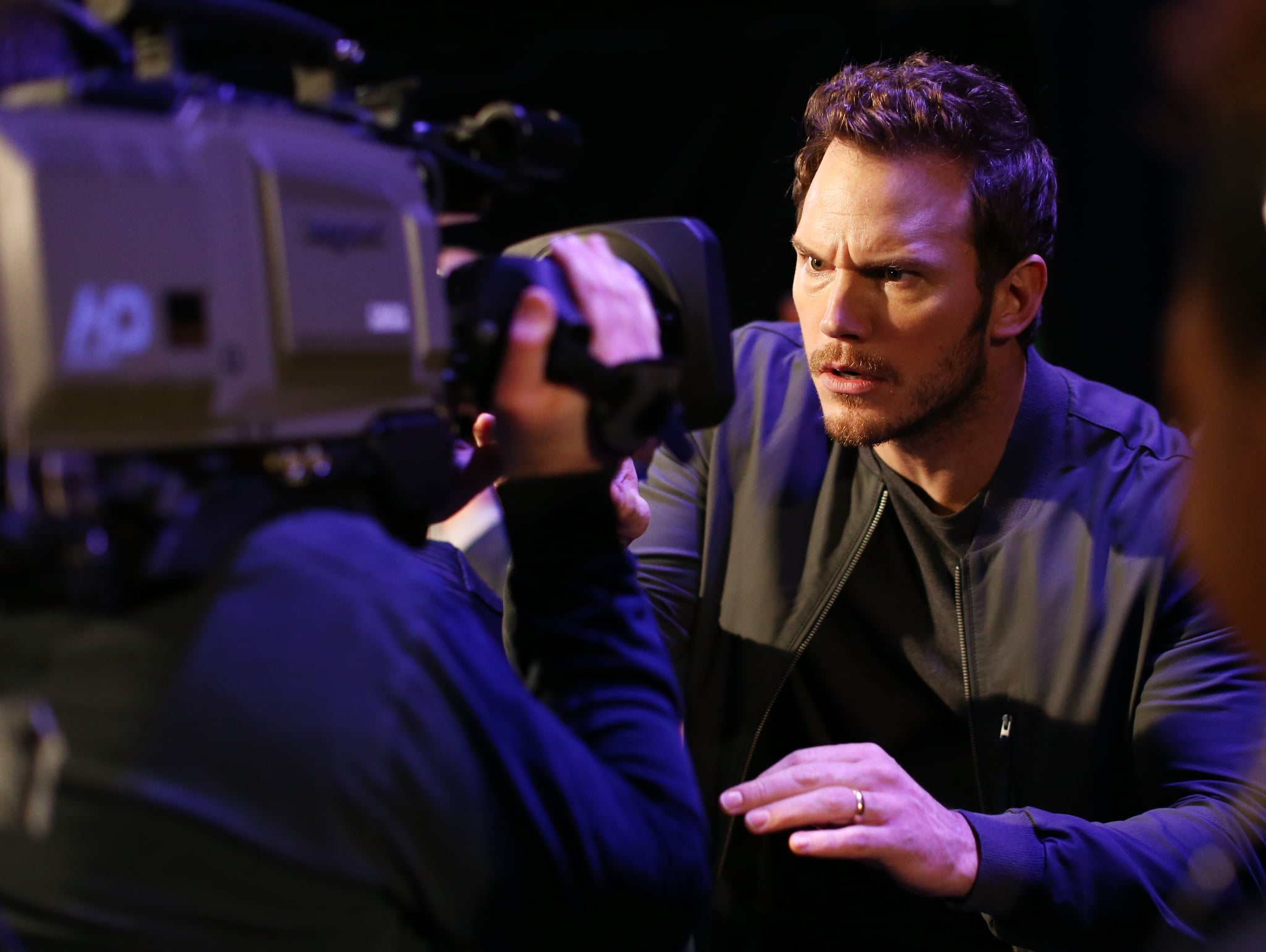 Chris Pratt got up close and personal with the camera.