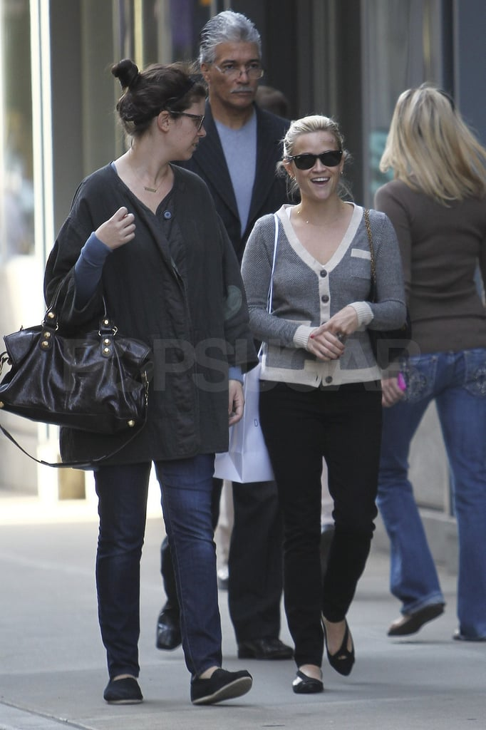 Reese wore a striped sweater while out shopping.