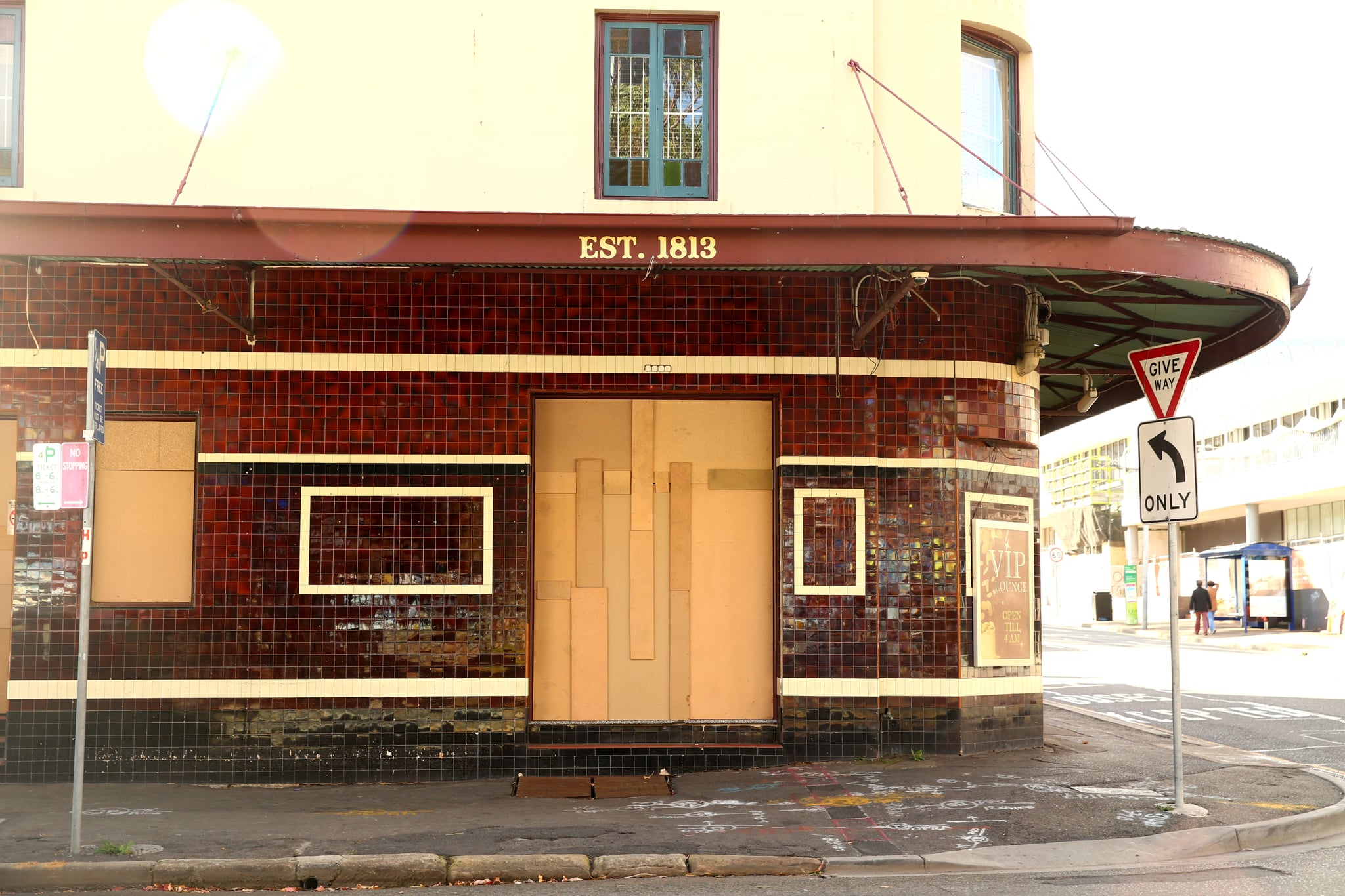 SYDNEY, AUSTRALIA - MAY 1:  An exterior view of the now closed Royal Oak Hotel, in the suburb of Parramatta is seen on May 1, 2020 in Sydney, Australia. Established in 1813, the hotel will be removed to enable the construction and operation of the Parramatta Light Rail, which is expected to open in 2023. (Photo by Matt Blyth/Getty Images)