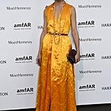 A Gold Satin Dress