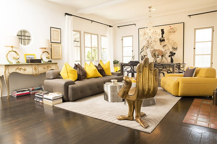 The home's glam decor draws on the Beverly Hills Hotel for inspiration.  Source: Bradley Meinz for Rodeo Realty