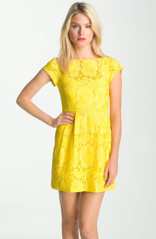 A classic eyelet dress in a bold, citrusy hue.  Nanette Lepore Vamos Floral Eyelet Dress ($348)
