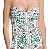 If you want to wear a strapless one-piece, get one with underwire support like this Tory Burch piece ($250).