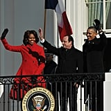 And Michelle sized up Hollande's waving ability.