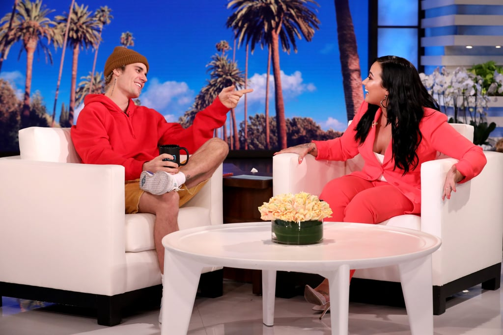"""On Friday, Demi Lovato took over as guest host for The Ellen DeGeneres Show and got to interview her pal Justin Bieber. Kicking off the chat, Demi revealed the sweet way they first met back when she was about 16 years old and Justin was around 14. """"You were outside of a radio station — I was doing an interview that day — and you came up to me, and you just like ran up and was like, 'Can I have a picture?'"""" she recalled. """"And I was like, 'Yeah, for sure,' and it was so sweet, you were like, 'My name's Justin. I'm Justin Bieber. You're gonna know my name one day.'"""" Amazing, right?! The two, who have been friends for years, also spoke about some of their shared experiences growing up in the spotlight and often wanting to escape from it. """"This is what you and I are both meant to do, you know?"""" Justin said. """"You're meant to entertain and sing, and I think same as me. So when we run away from that, it's almost like we become less happy."""" They also touched on their struggles with addiction and how Justin helped Demi get through her health battles last year. """"I looked at you as an inspiration because you've been through this, and you've come out on the other side,"""" she told the Changes singer. Watch Demi interview Justin and gush over his wife, Hailey, in the clips ahead!      Related:                                                                                                           They're Friends?! 23 Celebrity Pals That Might Surprise You"""