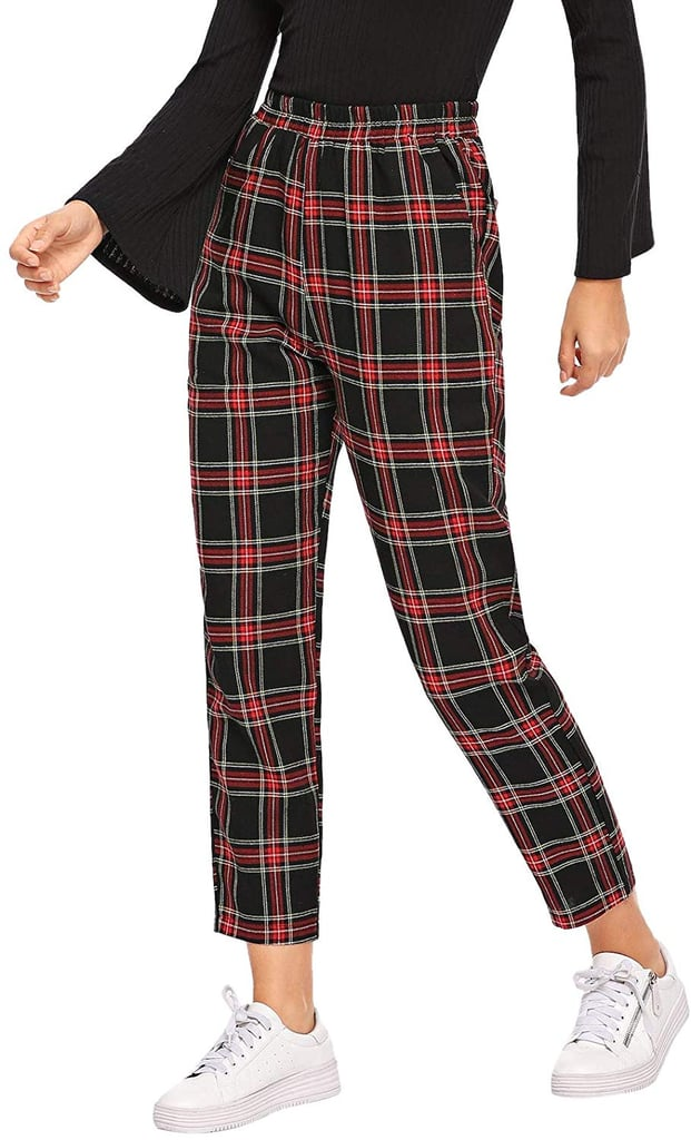 DIDK Mid-Waist Tartan Plaid Pocket Pants