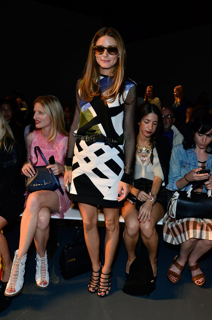 Olivia Palermo was snapped looking as stylish as ever front row at Tibi.