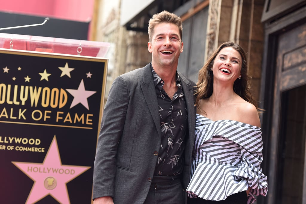 Keri Russell was honored with a star on the Hollywood Walk of Fame in LA on Tuesday, and the actress was joined by her The Americans costar and longtime boyfriend, Matthew Rhys, as well as her former Felicity costar and ex-boyfriend, Scott Speedman. Keri oozed her signature laid-back cool in a striped off-the-shoulder peplum top and black wide-leg pants and was all smiles as she shared a laugh with Scott and a sweet kiss with Matthew.  Keri and Scott played an onscreen couple on Felicity (the Felicity-Noel-Ben saga will always be one of the best TV love triangles) but also dated IRL from 2000 to 2001 and have remained close friends. Keri and Matthew went public with their romance in 2014 and welcomed a baby boy, Sam, in July 2016. Look through to see Keri and Scott's reunion, then check out more TV couples who were also real couples.       Related:                                                                                                           Keri Russell Really Can't Hide Her Smile Around Matthew Rhys