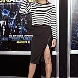 An Asymmetrical Skirt and a Striped Shirt
