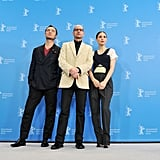 Jude Law and Rooney Mara posed with their Side Effects director, Steven Soderbergh, at the Berlin Film Festival on Tuesday.