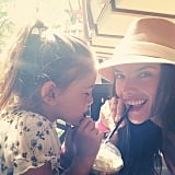 """Sharing some serious milkshake,"" Alessandra wrote in the caption for this cute snap with Anja. Source: Instagram user alessandraambrosio"