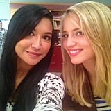 Naya Rivera and Dianna Agron took advantage of their screen time together. Source: Twitter user NayaRivera