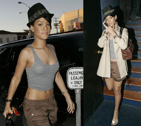 Rihanna Visits a Tattoo Parlor in Hollywood on January 13 2008