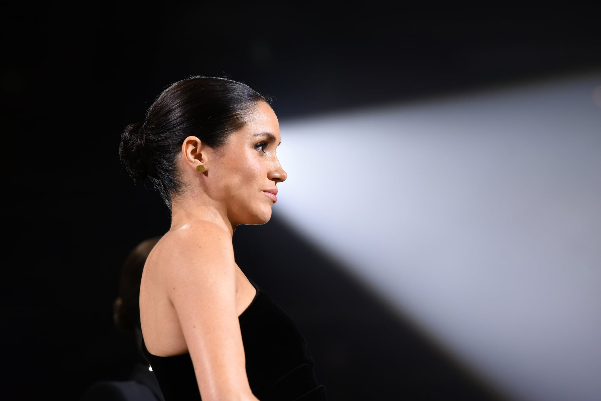 LONDON, ENGLAND - DECEMBER 10:  Meghan, Duchess of Sussex on stage during The Fashion Awards 2018 In Partnership With Swarovski at Royal Albert Hall on December 10, 2018 in London, England.  (Photo by Joe Maher/BFC/Getty Images)