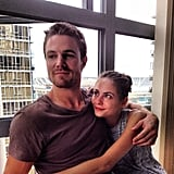 Stephen Amell posed with Willa Holland. Source: Instagram user stephenamell