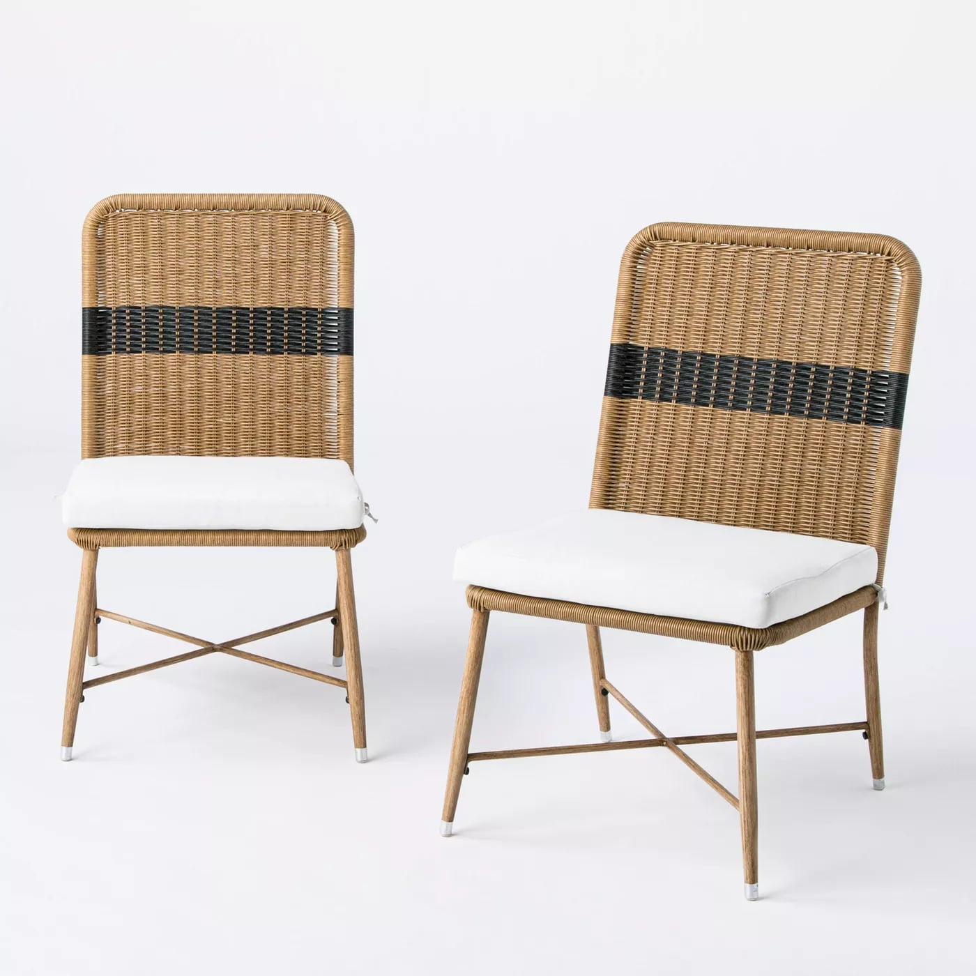 wicker and metal patio dining chairs