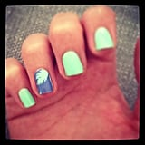 Steph took on a tropical theme with her seafoam nails and palm-tree nail foil. All she needs now is a mojito.
