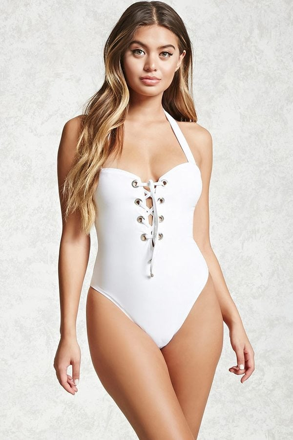 Forever 21 Lace-Up One-Piece Swimsuit
