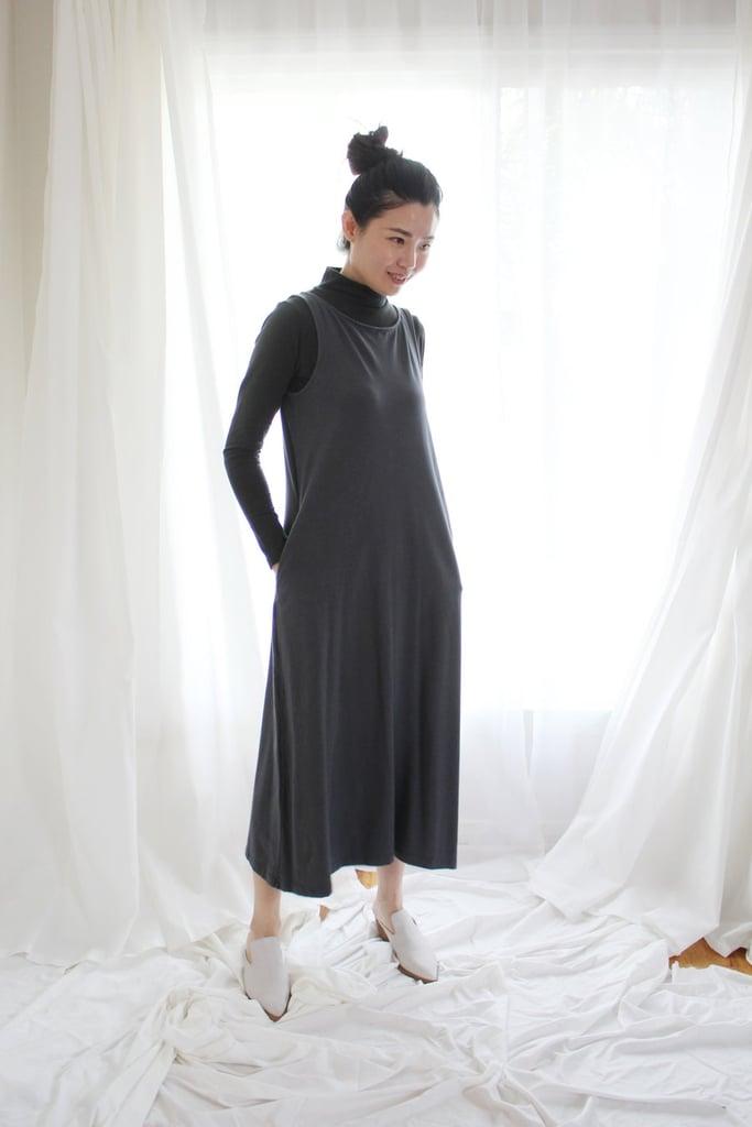 d4e2b114144 Mien Studios Fortuna Column Dress in Zinc Grey