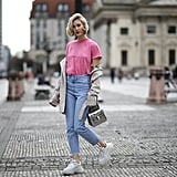 Mix up your t-shirt-and-jeans combo by swapping for a brighter color on top.