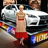 Jaime King smiled with a white Lexus.