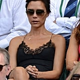 Victoria Beckham Wearing Lace Slip Dress at Wimbledon