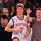 Ansel Elgort enjoyed an NYC basketball game with his brother Warren on Sunday night.