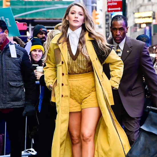 Blake Lively Wearing Yellow Fendi Shorts in the Winter Cold