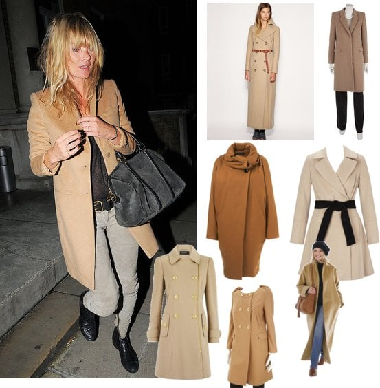 Photo of Kate Moss in a Camel Coat