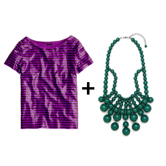 We love the idea of pairing this striped, sequined tee with boyfriend jeans and a green statement necklace for the perfect off-duty cool. Shop the look:  J.Crew sequined stripe tee ($128) BaubleBar emerald bauble bib ($36)