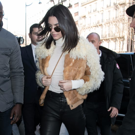 Kendall Jenner Wearing Printed Ankle Boots
