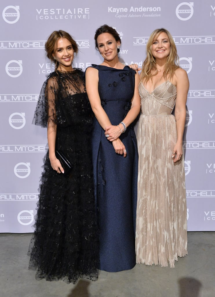 The fifth annual Baby2Baby Gala brought out a host of celebrity moms (including Jessica Alba, Kate Hudson, Rachel Bilson, and Kelly Rowland), as well as cute couples like Channing Tatum and Jenna Dewan, Kristen Bell and Dax Shepard, Matthew McConaughey and Camila Alves, and Miranda Kerr and her fiancé, Snapchat founder Evan Spiegel. Also on hand for the big event was mother of three Jennifer Garner, who was honored with the Giving Tree Award for her ongoing dedication to children in need and her longtime support of the LA-based nonprofit. Past winners include Kate Hudson, Drew Barrymore, and Kerry Washington. The actress looked to be having a ball as she posed for photos with Jessica and Kate as well Baby2Baby founders Kelly Sawyer and Norah Weinstein, as well as her Dallas Buyers Club costar Matthew McConaughey. Jennifer hasn't been shying away from the spotlight since her headline-making split from Ben Affleck last year — she and Ben have both been vocal about their commitment to co-parenting their daughters, Violet and Seraphina, and son Samuel, and the estranged couple has been spotted out and about on multiple outings together since announcing their breakup. In just the past few months, we've seen Jennifer mingling with fellow celebrities at the CMA Awards, ALS Charity Walk, and a Tiffany & Co event, hitting the gym around LA, and showing off her supermom status by schlepping Seraphina's school project down the street.