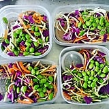 Soba noodles with zucchini, edamame, cabbage, and carrot slaw.
