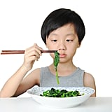 Though his chopstick skills are fierce, he immediately regrets the decision to grab those greens.