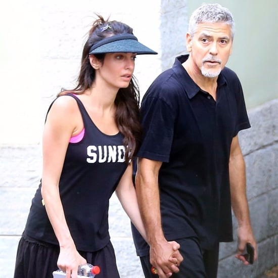 George and Amal Clooney Holding Hands After Tennis Pictures