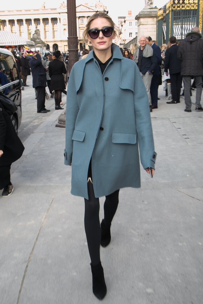 For Valentino, the style setter opted for an elegant powder-blue coat and black tights.