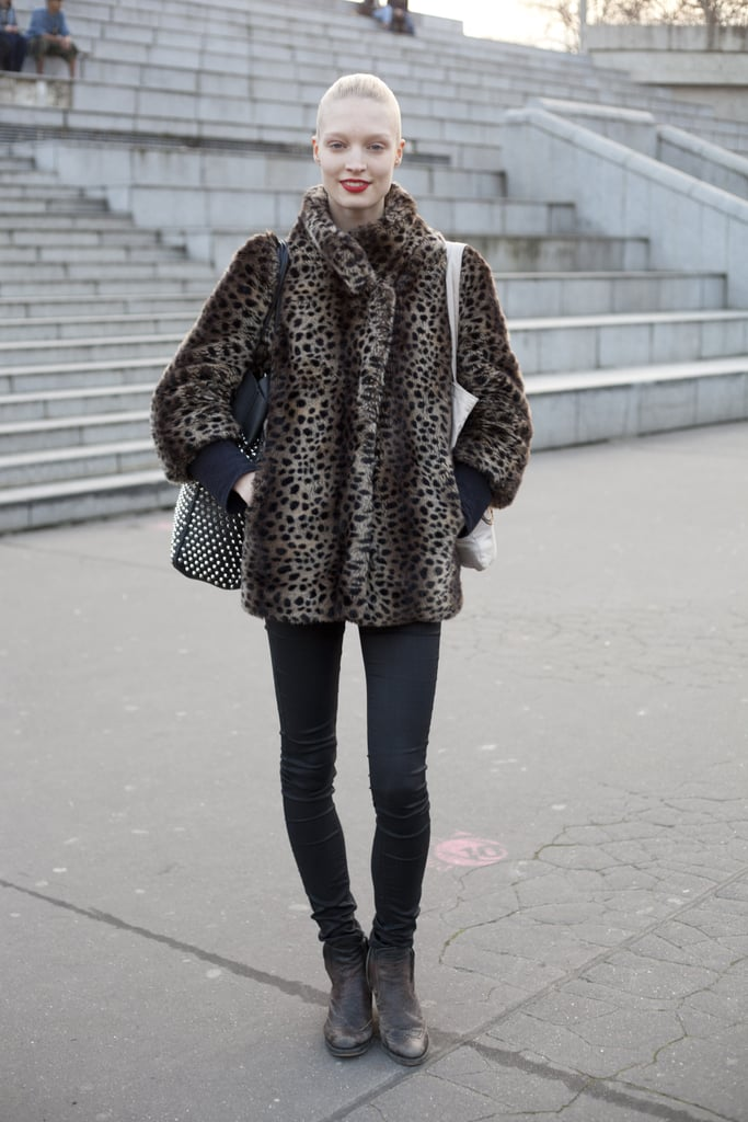 To keep your all-black getup dynamic, add leopard print into the mix via an accessory or topper.
