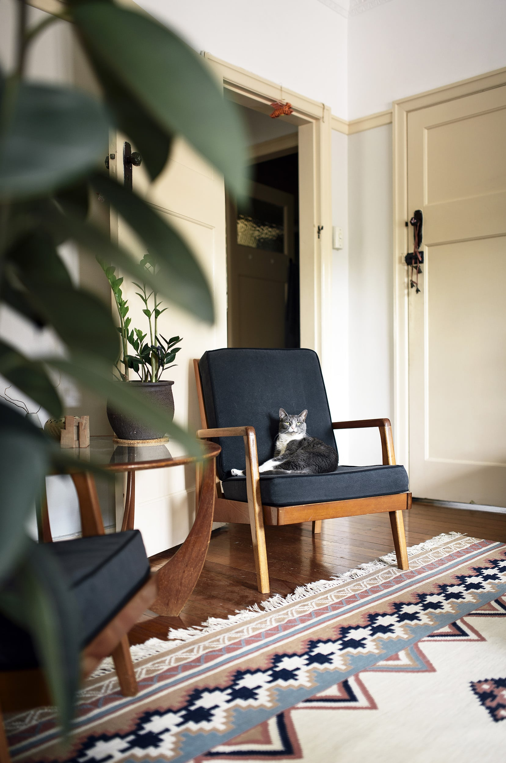 Even the cat feels at home on the lovely Danish-style