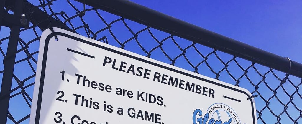 Dad Shares Important Sign For Parents Found at His Son's Baseball Game