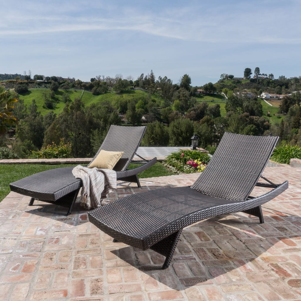 Carlsbad Brown Wicker Chaise Lounge Chair Set