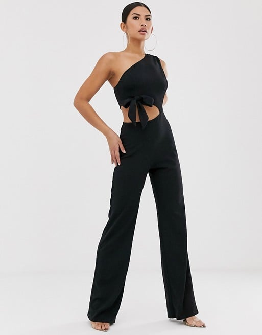 ASOS Design One Shoulder Cut Out Jumpsuit With Bow Detail and Wide Leg