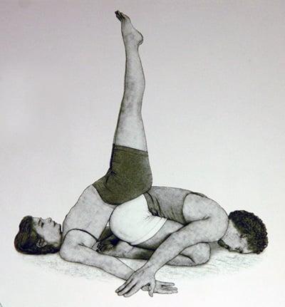 Partner Yoga Pose: Supported Shoulderstand Child's Pose