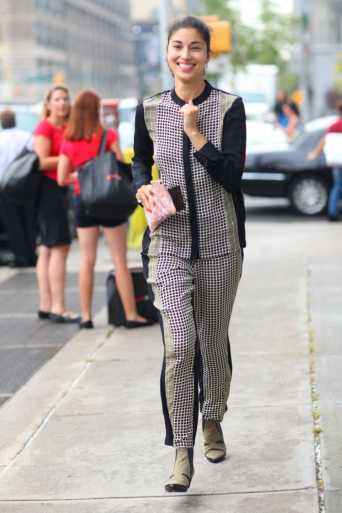 Caroline Issa looked smart in head to toe print.