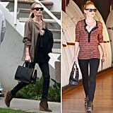 Kate Bosworth makes use of her investment bag. Her Prada tote dresses up even her most casual of looks — and looks just as good with the classics as it does with a cool mix of pattern and edgier booties.