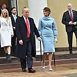 Melania Trump Wearing a Light Blue Ralph Lauren Set During Her Husband's Inauguration