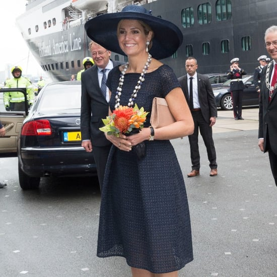 Queen Maxima's Navy Blue Eyelet Dress May 2016